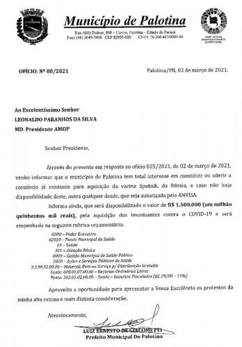 Prefeito Luiz Ernesto destina 1,5 milhão para comprar vacinas para os palotinenses